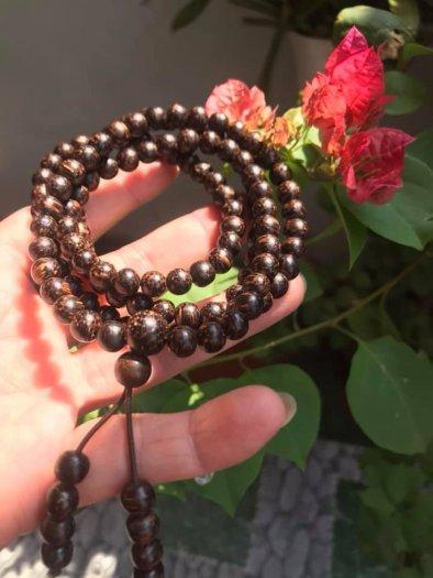 Vòng đeo tay Gỗ Trầm Hương quấn tay kiểu size hạt 7mm màu nâu gỗ vân tự nhiên mùi thơm thơm nhẹ3
