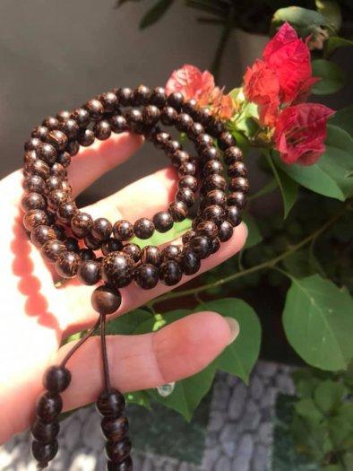 Vòng đeo tay Gỗ Trầm Hương quấn tay kiểu size hạt 7mm màu nâu gỗ vân tự nhiên mùi thơm thơm nhẹ2