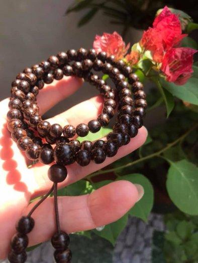 Vòng đeo tay Gỗ Trầm Hương quấn tay kiểu size hạt 7mm màu nâu gỗ vân tự nhiên mùi thơm thơm nhẹ1