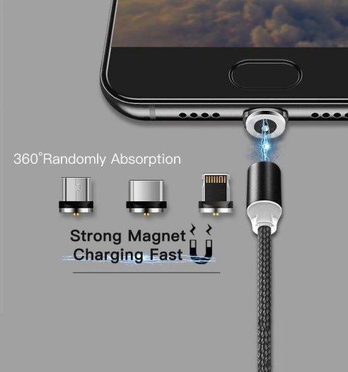 Cáp sạc từ hít nam châm dây dù 3 in 1 -Type C- Iphone - Micro Usb Mới2