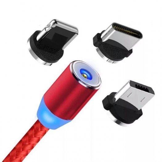 Cáp sạc từ hít nam châm dây dù 3 in 1 -Type C- Iphone - Micro Usb Mới1