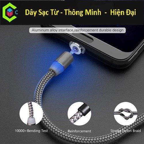 Cáp sạc từ hít nam châm dây dù 3 in 1 -Type C- Iphone - Micro Usb Mới0