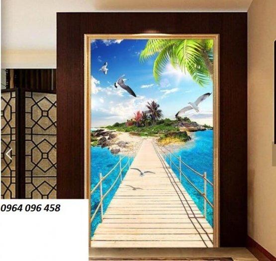 Tranh gạch 3d - gạch tranh 3d bờ biển cây dừa6