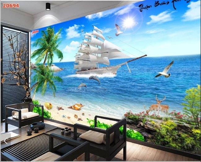 Tranh gạch 3d - gạch tranh 3d bờ biển cây dừa4