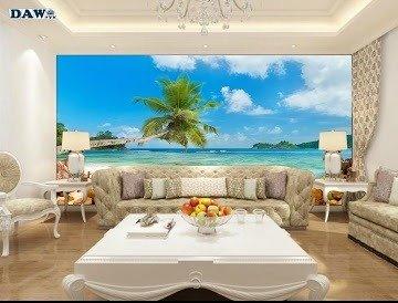 Tranh gạch 3d - gạch tranh 3d bờ biển cây dừa1