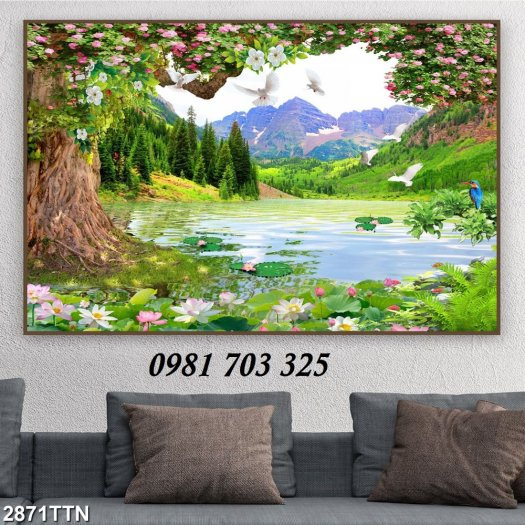 Tranh gạch 3D phong cảnh thiên nhiên , tranh sơn thủy hữu tình4