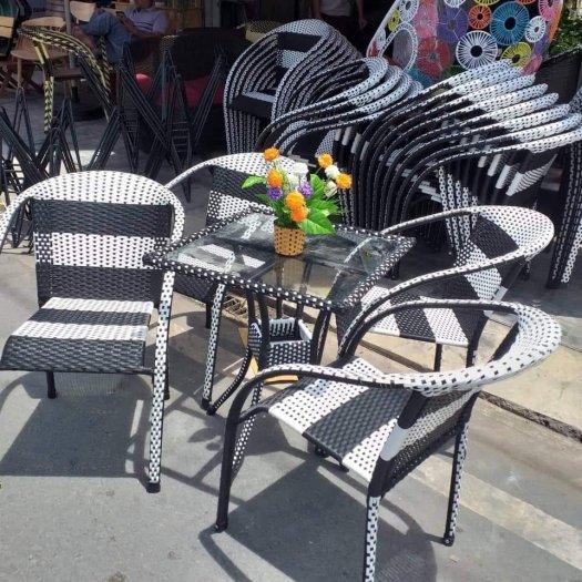 Bộ bàn ghế cafe nhựa giả mây giá rẻ tphcm0