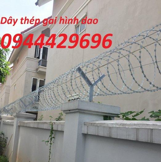Thi công hàng rào Dây thép gai hình dao ĐK  45cm0