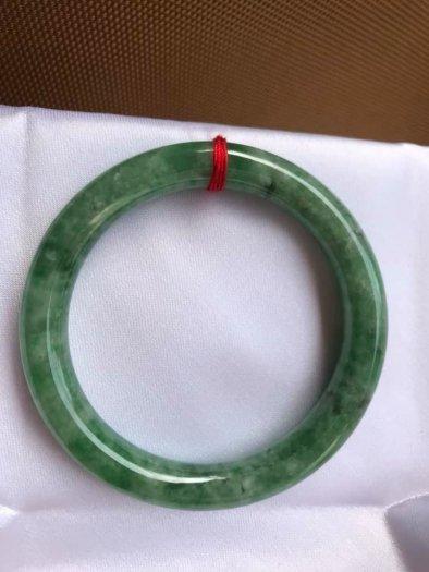 Vòng Tay Phong Thủy Đá Ngọc Cẩm Thạch Tự Nhiên Dầu Lý Sao 53mm x dầy 8,5mm Màu Xanh10