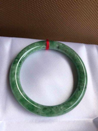 Vòng Tay Phong Thủy Đá Ngọc Cẩm Thạch Tự Nhiên Dầu Lý Sao 53mm x dầy 8,5mm Màu Xanh8