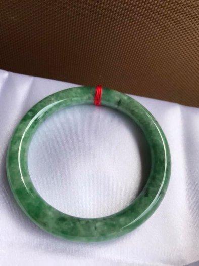 Vòng Tay Phong Thủy Đá Ngọc Cẩm Thạch Tự Nhiên Dầu Lý Sao 53mm x dầy 8,5mm Màu Xanh6