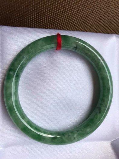 Vòng Tay Phong Thủy Đá Ngọc Cẩm Thạch Tự Nhiên Dầu Lý Sao 53mm x dầy 8,5mm Màu Xanh4