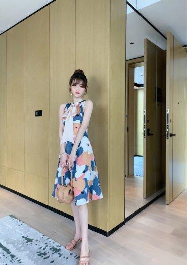 Đầm váy nữ hoạ tiết kiểu dáng cổ lọ cột nơ SG6
