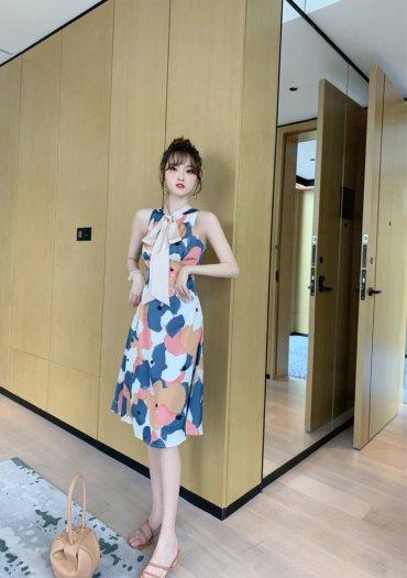 Đầm váy nữ hoạ tiết kiểu dáng cổ lọ cột nơ SG2