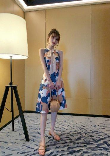 Đầm váy nữ hoạ tiết kiểu dáng cổ lọ cột nơ SG3