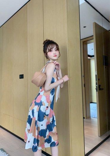 Đầm váy nữ hoạ tiết kiểu dáng cổ lọ cột nơ SG4