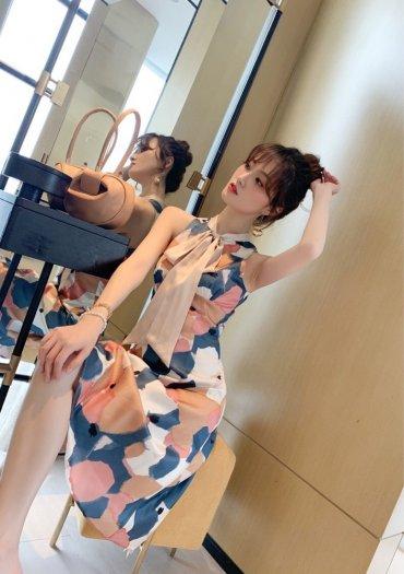 Đầm váy nữ hoạ tiết kiểu dáng cổ lọ cột nơ SG7