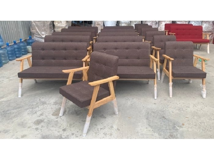 Sofa gỗ nệm vải AGB cao cấp Sofa nhấn nu0