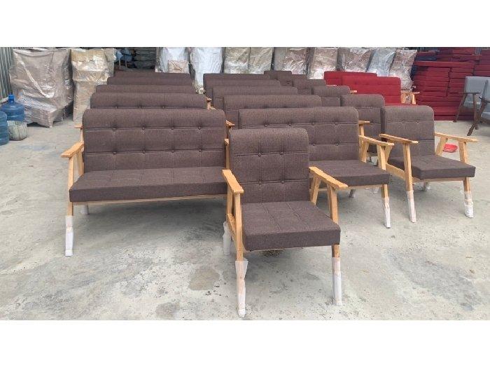 Sofa gỗ nệm vải AGB cao cấp Sofa nhấn nu1
