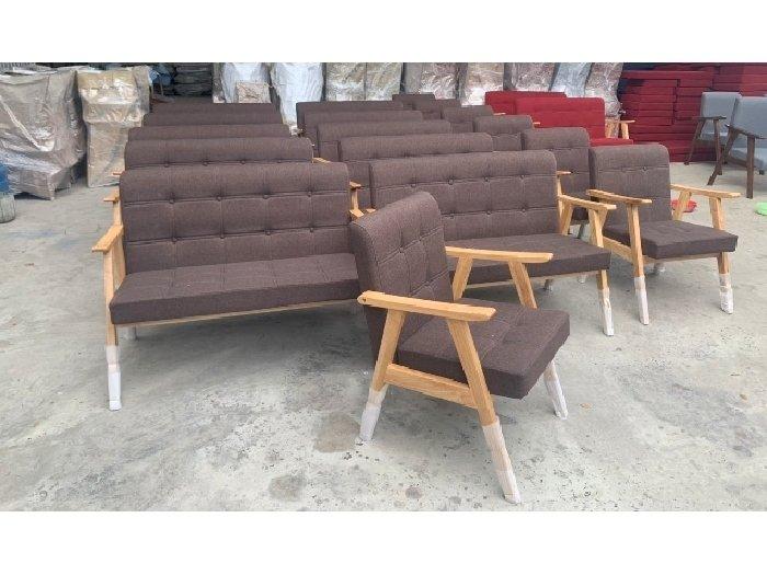 Sofa gỗ nệm vải AGB cao cấp Sofa nhấn nu2