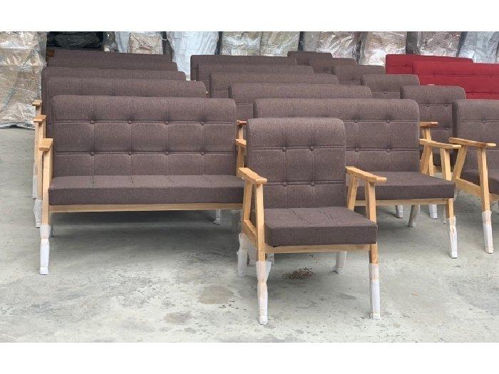 Sofa gỗ nệm vải AGB cao cấp Sofa nhấn nu3