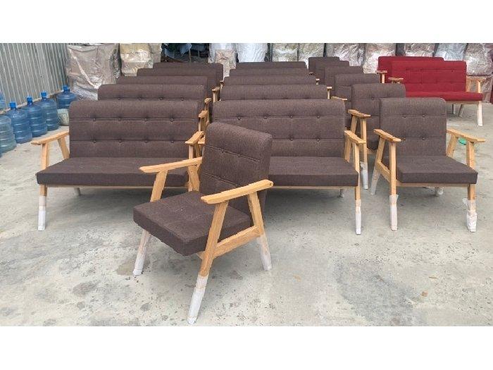 Sofa gỗ nệm vải AGB cao cấp Sofa nhấn nu4