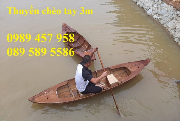 Mẫu xuồng gỗ 3 lá, Thuyền gỗ chèo tay, Thuyền gỗ trang trí 2m, 2m58