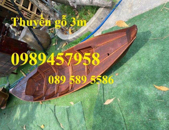 Mẫu xuồng gỗ 3 lá, Thuyền gỗ chèo tay, Thuyền gỗ trang trí 2m, 2m56