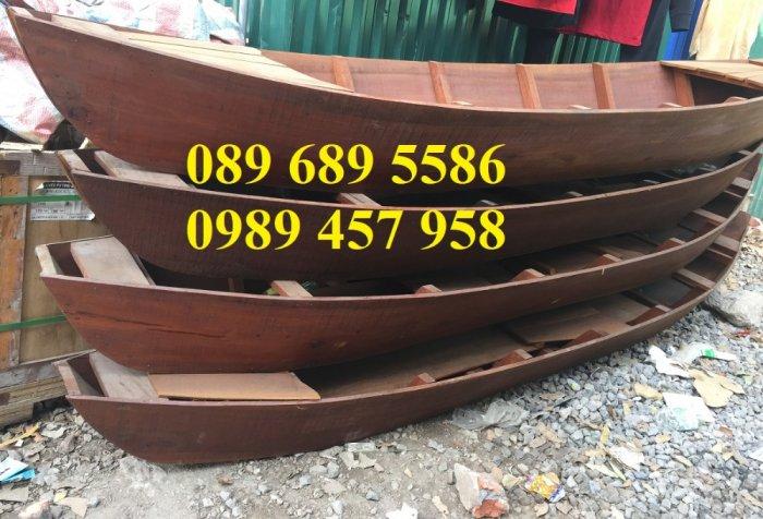 Mẫu xuồng gỗ 3 lá, Thuyền gỗ chèo tay, Thuyền gỗ trang trí 2m, 2m55