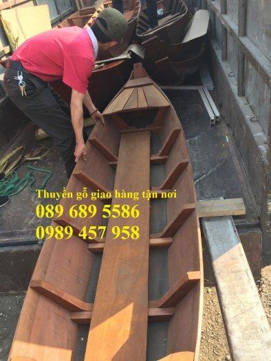 Mẫu xuồng gỗ 3 lá, Thuyền gỗ chèo tay, Thuyền gỗ trang trí 2m, 2m54