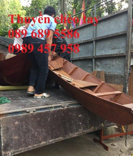 Mẫu xuồng gỗ 3 lá, Thuyền gỗ chèo tay, Thuyền gỗ trang trí 2m, 2m53
