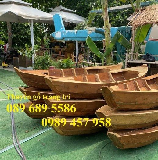 Mẫu xuồng gỗ 3 lá, Thuyền gỗ chèo tay, Thuyền gỗ trang trí 2m, 2m51