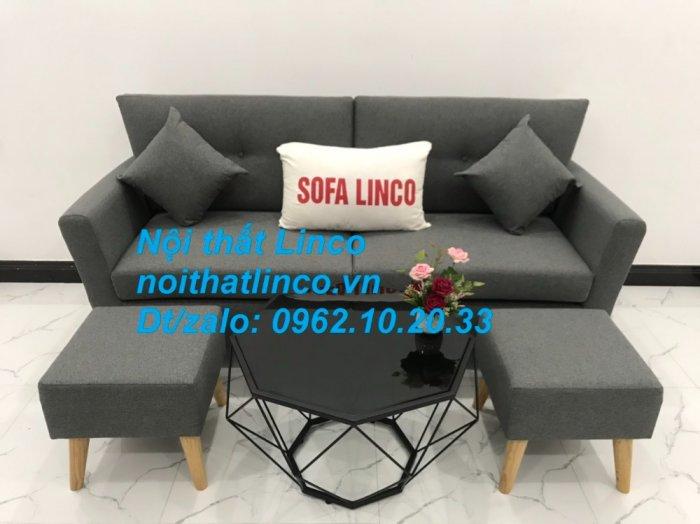Bộ bàn ghế sofa băng văng dài xám đậm đen giá rẻ Nội thất Linco Sài Gòn SG15