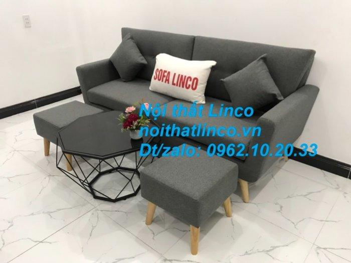 Bộ bàn ghế sofa băng văng dài xám đậm đen giá rẻ Nội thất Linco Sài Gòn SG14