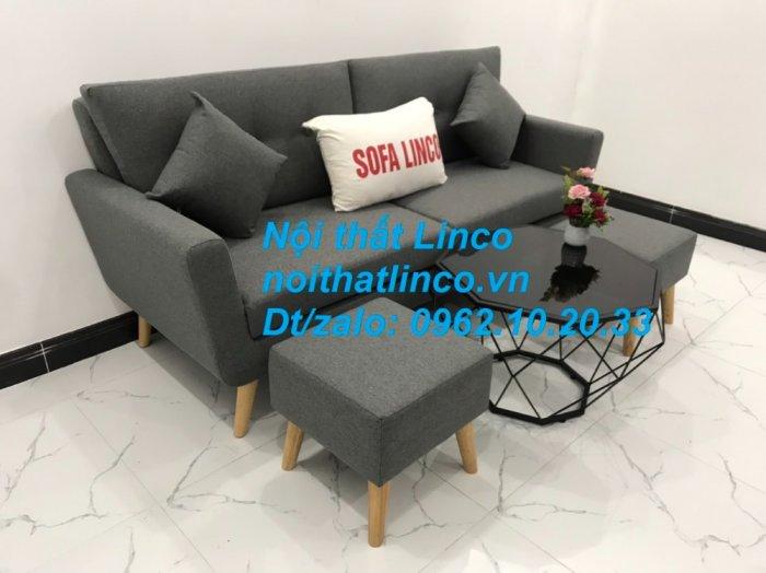 Bộ bàn ghế sofa băng văng dài xám đậm đen giá rẻ Nội thất Linco Sài Gòn SG13