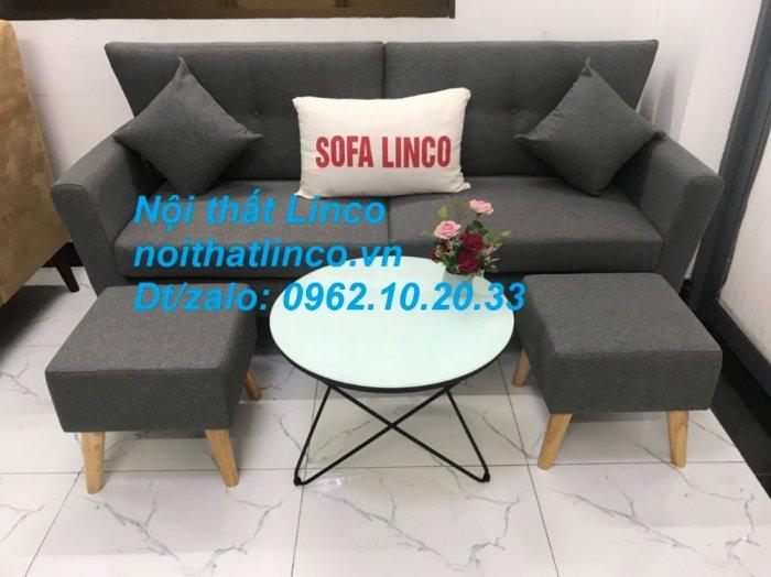 Bộ bàn ghế sofa băng văng dài xám đậm đen giá rẻ Nội thất Linco Sài Gòn SG12