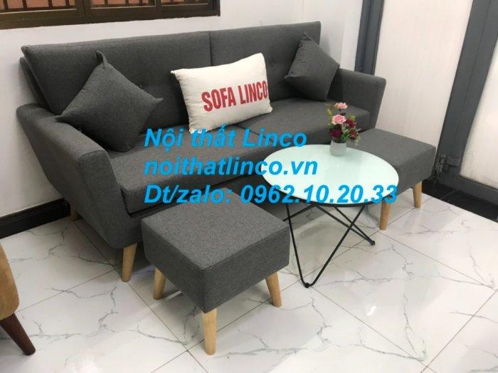 Bộ bàn ghế sofa băng văng dài xám đậm đen giá rẻ Nội thất Linco Sài Gòn SG11