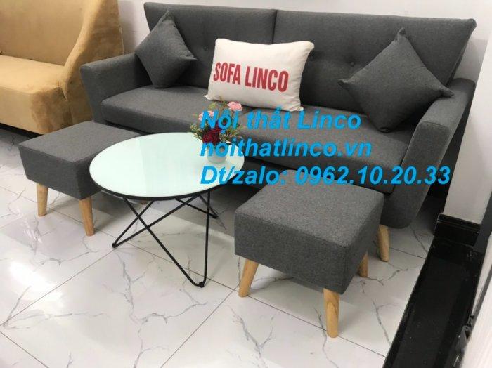 Bộ bàn ghế sofa băng văng dài xám đậm đen giá rẻ Nội thất Linco Sài Gòn SG10