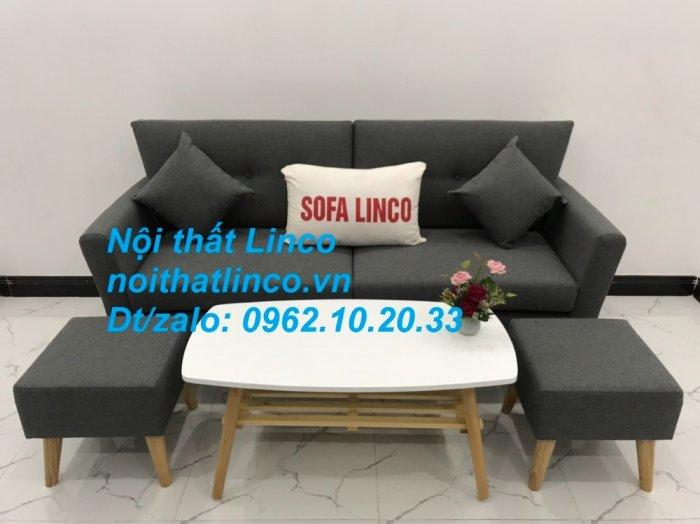 Bộ bàn ghế sofa băng văng dài xám đậm đen giá rẻ Nội thất Linco Sài Gòn SG9