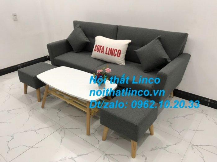 Bộ bàn ghế sofa băng văng dài xám đậm đen giá rẻ Nội thất Linco Sài Gòn SG8