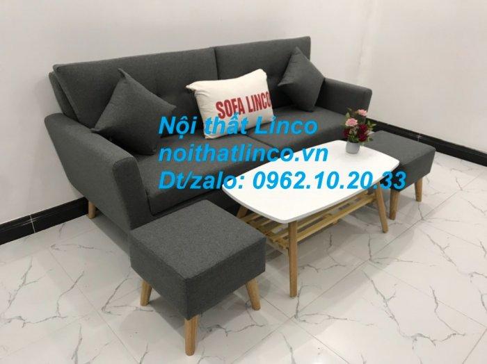 Bộ bàn ghế sofa băng văng dài xám đậm đen giá rẻ Nội thất Linco Sài Gòn SG7