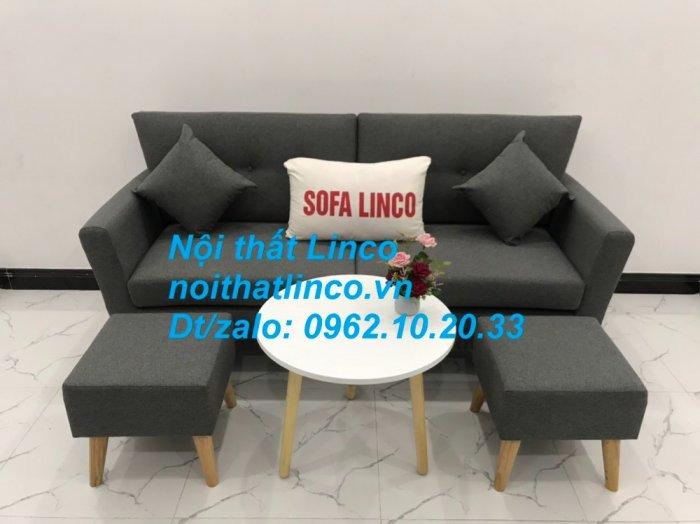 Bộ bàn ghế sofa băng văng dài xám đậm đen giá rẻ Nội thất Linco Sài Gòn SG6