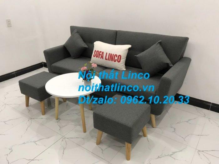 Bộ bàn ghế sofa băng văng dài xám đậm đen giá rẻ Nội thất Linco Sài Gòn SG5