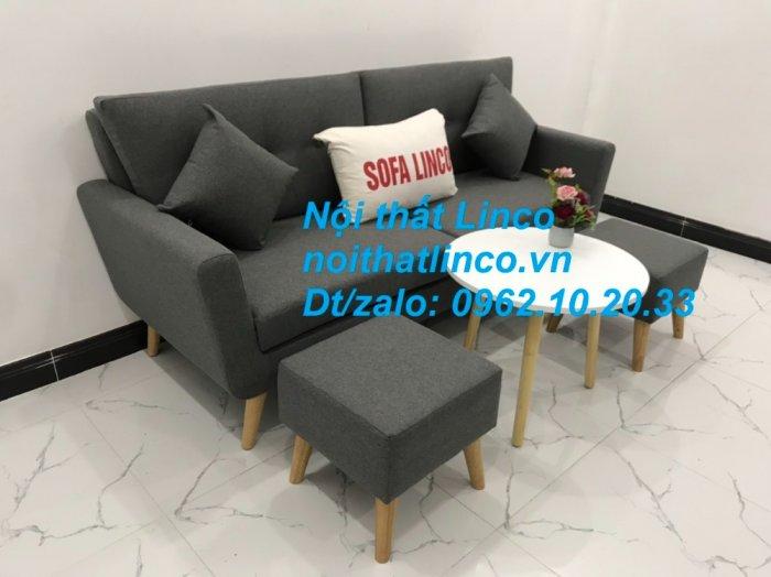 Bộ bàn ghế sofa băng văng dài xám đậm đen giá rẻ Nội thất Linco Sài Gòn SG4