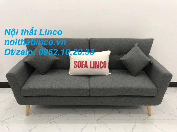 Bộ bàn ghế sofa băng văng dài xám đậm đen giá rẻ Nội thất Linco Sài Gòn SG3