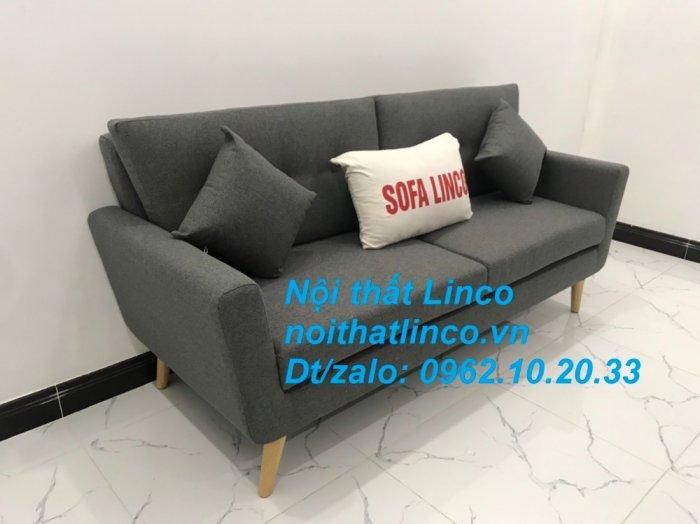 Bộ bàn ghế sofa băng văng dài xám đậm đen giá rẻ Nội thất Linco Sài Gòn SG1