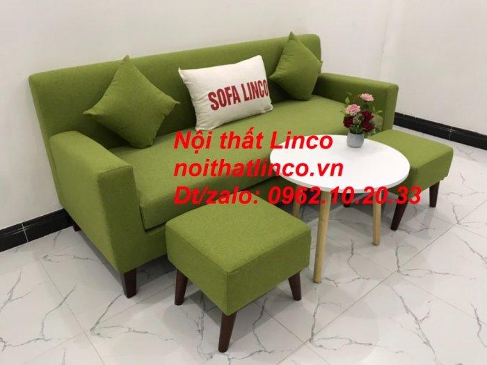Bộ bàn ghế sofa băng văng 1m9 xanh lá giá rẻ đẹp vải bố Nội thất Linco Sài Gòn12