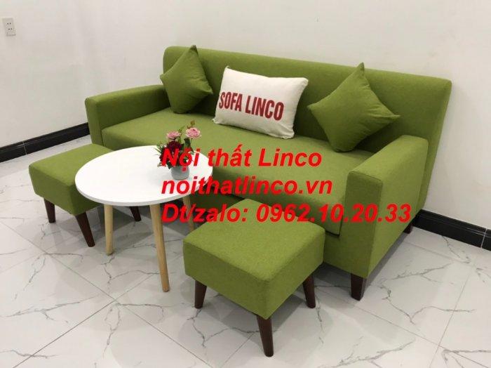 Bộ bàn ghế sofa băng văng 1m9 xanh lá giá rẻ đẹp vải bố Nội thất Linco Sài Gòn11