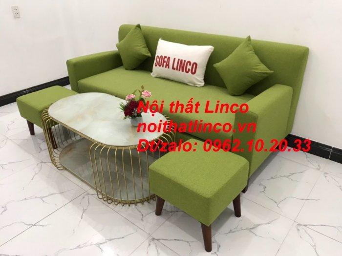 Bộ bàn ghế sofa băng văng 1m9 xanh lá giá rẻ đẹp vải bố Nội thất Linco Sài Gòn9