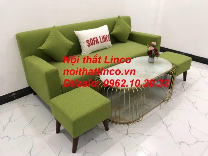 Bộ bàn ghế sofa băng văng 1m9 xanh lá giá rẻ đẹp vải bố Nội thất Linco Sài Gòn8
